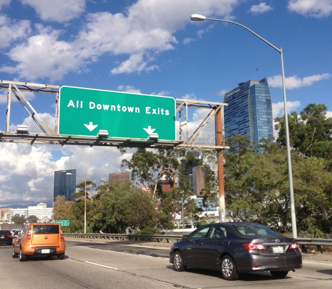 Freeway 101 N downtown Los Angeles