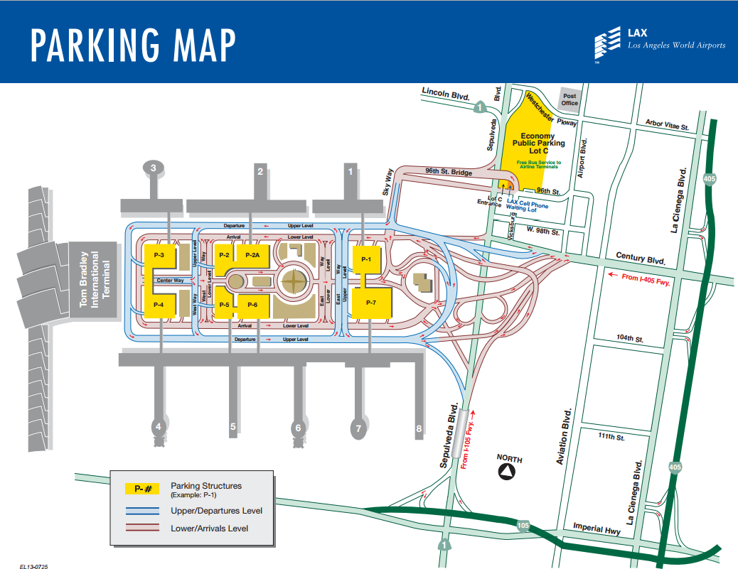 Lax terminals airline and parking map for los angeles airport for Lax long term parking lot